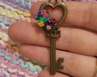 Bunches of flowers ladybug key pendant ladybird skeleton key summer