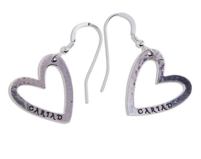 Cariad earrings silver – Sterling silver open heart drop earrings - Hand Made in UK