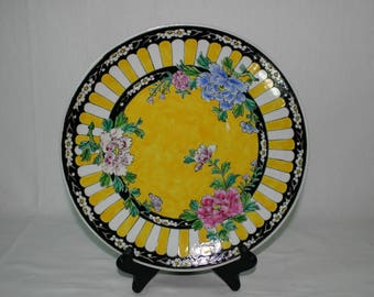 Yellow Floral Nippon Plate
