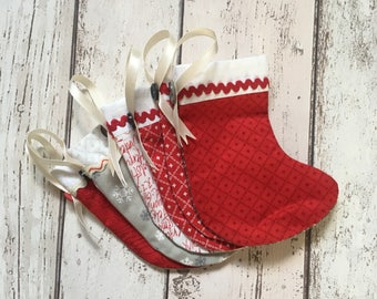 Handmade Fabric Mini Christmas Stockings set of 6