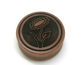 Pair of Engraved Vegan Sunflower Plugs [Cherrywood / Wood Stretchers 10mm - 60mm] Price Per Pair