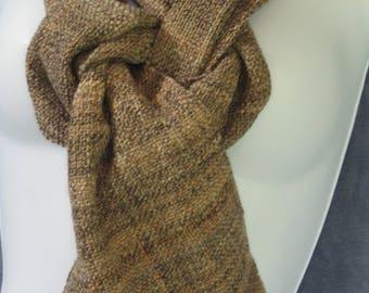 Pecan - hand woven, hand spun, Merino wool scarf