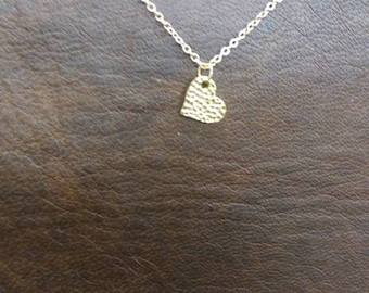 Textured heart necklace