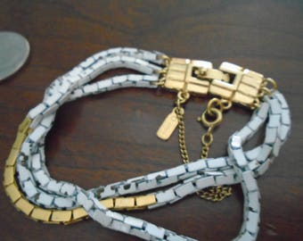 Vintage Gold and white enameled # chain Bracelet