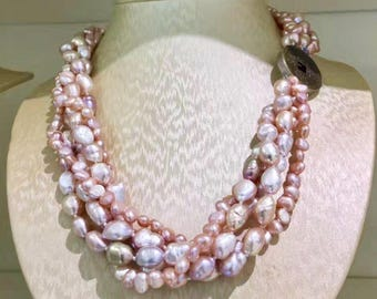 Natural blush pink freshwater pearl multi strand necklace / rose pink pearl necklace/ Mothers day gift idea