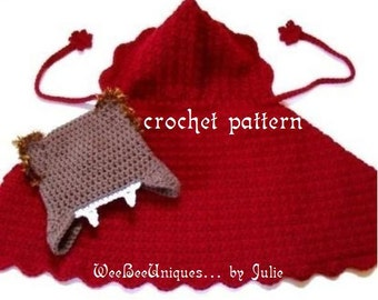 crochet pattern digital download little red riding hood and the big bad wolf play set