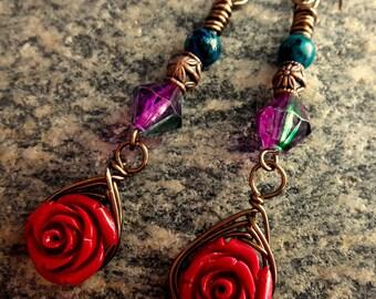 Red Rose and Blue Jasper Herringbone Earrings
