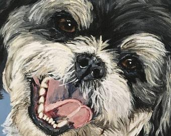 custom shih tzu pet portrait shih tzu art dog portrait personalized shih tzu art shih tzu owner pet loss memorials death of pet gift