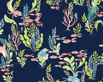"Mermaid Days- At the Bottom of the Sea in Navy by Cori Dantini for Blend Fabrics - 35"" Remnant"
