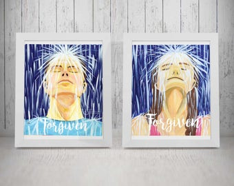 Forgiven Couple - Set of 2 Inspirational Art Prints of Adult Man and Woman in Rain. Christian baptism, born again. Designed from paintings.