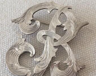Heavy Vintage Sterling Silver Monogram -R- Brooch