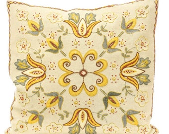 Vintage Biege Crewel Embroidered Floral Accent Pillow - FREE SHIPPING