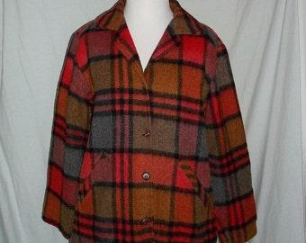 Deacon Dea-Jacket Red Plaid Wool Blend Mens Vintage 60s 70s Jacket Coat Lumberjack Hunting M
