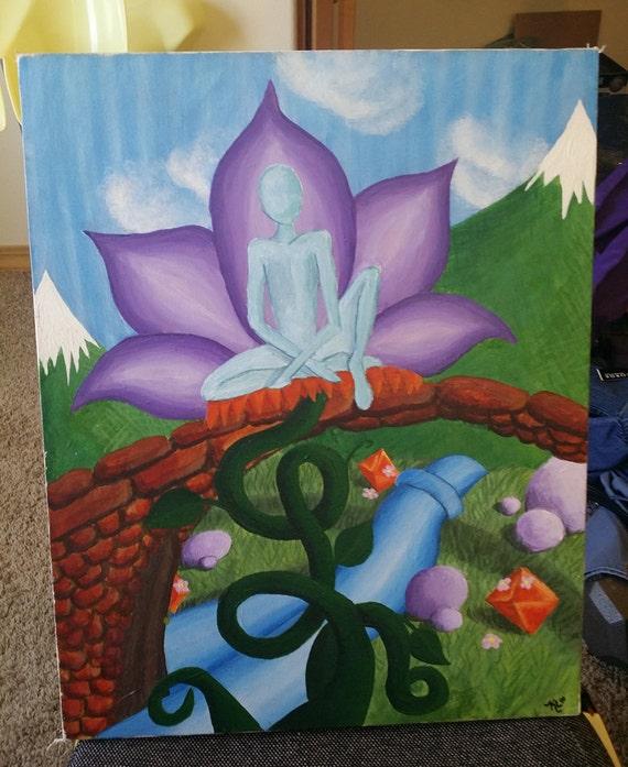 blue spirit bridge canvas painting surreal painting, landscape painting, large painting, wall art canvas art home deor vintage fantasy art