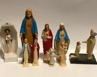 Religious 1960s Various Plastic Figures Set// Religious Collectibles