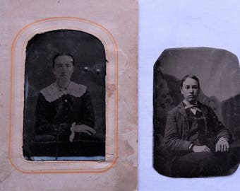 2 single tintype photos
