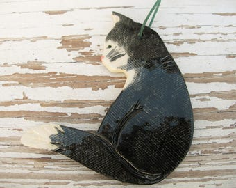 Black cat ornament black Tuxedo kitty ornament handmade kitty cat pet marker black cat