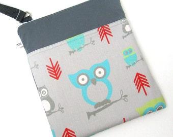 Cross Body Messenger Bag - Owls on Grey