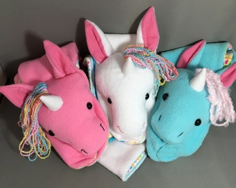 Animal Scarf, Short or X-Long Unicorn- Made to order- Stuffed Animal White, pink or blue with Magical Rainbow Hair for kid and adult
