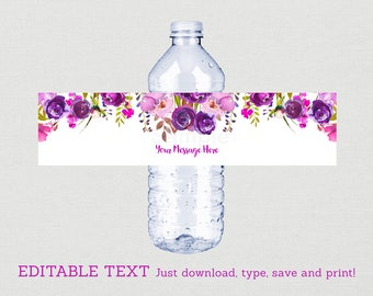Purple Floral Water Bottle Labels / Floral Baby Shower / Watercolor Floral / Purple Baby Shower / INSTANT DOWNLOAD Editable PDF A167