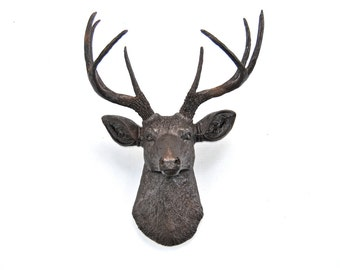 Faux Deer Head in Dark Brown with Copper Reflective Flakes - Deer Head Antlers Fake Taxidermy Wall Mount - Shimmer - Glitter D2727