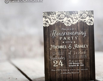 Rustic Country Housewarming Party Invitation - Personalized Printable DIGITAL FILE