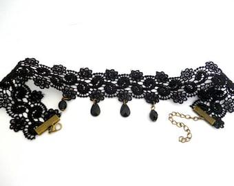 Black Lace Adjustable Choker_PP5220178/6547_ Necklace/Choker_ black bronze finish_gift ideas
