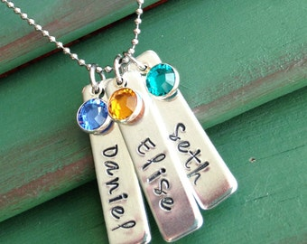 Mother's Necklace--Birthstone Jewelry--Mom Necklace--Grandma Jewelry--Name Bar Necklace--Kids' Names-Mom Jewelry--Adoption Jewelry