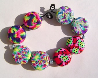 Colorful Coin Shape Earring Pairs Four Sets Handmade Artisan Polymer Clay Bead Pairs