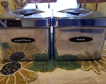Canette Tin Coffe & Tea Cannisters 1950s-60s