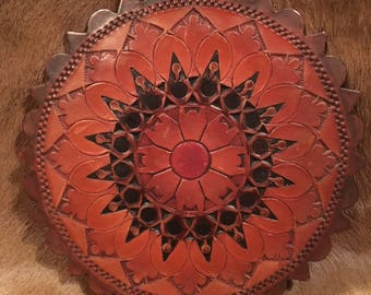 Vintage Handmade Leather Wall Ornament