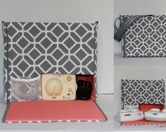 Ready to ship* XS Ella style Breast Pump Bag in Stained Glass Gray print with zipper top closure