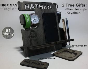 Iron Man Custom Docking station, phone stand, charging station, groomsman gift, Superhero gift idea, Avengers, Ironman, Marvel, phone case