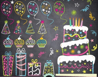 """Chalkboard Birthday Party Clip Art, """"Birthday CLIP ART"""" pack,Party Clip art,Balloon,Cup Cake,Banner,Star,Present, Invitations Pt012"""