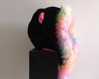 Pussy Cat Hood Cozy Warm Fuzzy Fur Festival Hoodie Rainbow