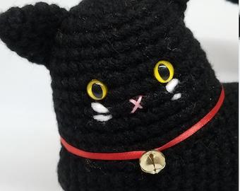 Black Cat Amigurumi Crochet With Bell