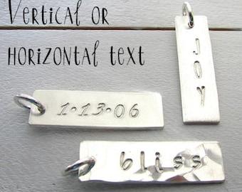 Silver Bar Charm | Custom Name Charm | Personalized Bar Charm | Personalized Custom Charm Hand Stamped Bar | 1 Inch | Pendant E Ria Designs