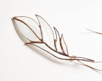 Weiß Glas Feder Glasmalerei Suncatcher von jacquiesummer