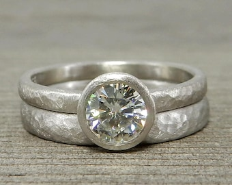 Moissanite Engagement & Wedding Ring in 950 Palladium - Hammered, Matte/Brushed/Textured - Eco-Friendly, Conflict-Free - Made To Order