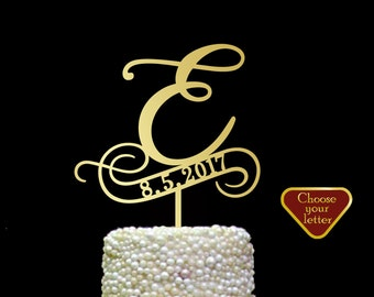 e cake topper, cake toppers for wedding gold, wooden letters topper, rustic cake topper silver, letter cake topper, cake topper e, CT#165