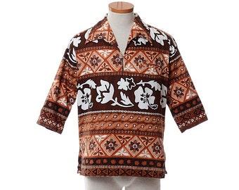 Vintage 60s 70s Batik Hawaiian Shirt 1960s 1970s Kimos Polynesian Shop Tiki Oasis Party Luau Tribal Tunic Aloha Pullover Shirt / mens M