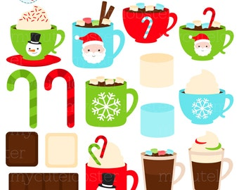 Festive Hot Chocolate Clipart Set - marshmallows, candy cane, Christmas, drinks, choc - personal use, small commercial use, instant download