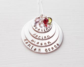 Personalized Hand Stamped Mother's Pendant Necklace Children's Names Birthstone Charms Sterling Chain Aluminum Discs For Multiple Children