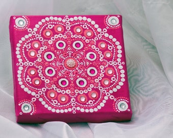 Handpainted mandala, pink mandala, pink canvas, pointillism art, painting canvas, dot art on canvas, wall art, home decor item, mini canvas