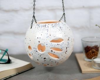 Ceramic hanging lantern, candle lantern, tealight holder, candle holder, lanterns decor, home decor lighting, night light, wedding gift