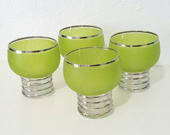 Mid-Century Modern Chic Lime Green Cocktail Glasses. Rare. Mod 60's Cocktail Glasses.