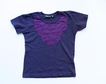 toddler girls clothing - SCALLOPS -  t shirt - toddler girls top - purple - appliqué tee - scales - girl birthday gift  - girls sale