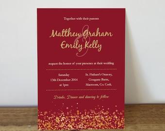 Wedding Invitation | Printable Wedding Invitation | Red Wedding invitations | Winter Wedding invitations | Christmas Wedding Invitation