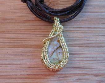 Muscovite Cabochon Bare Yellow Brass Wire Wrapped Pendant Handcrafted Jewelry Yellow Brown Red Green Gemstone