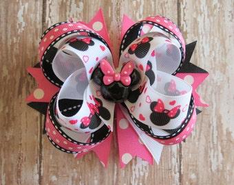 MINNIE MOUSE Disney hair bow Hot Pink Black grosgrain boutique alligator clip resin 5 inch grosgrain Toddler Cici's Boutique